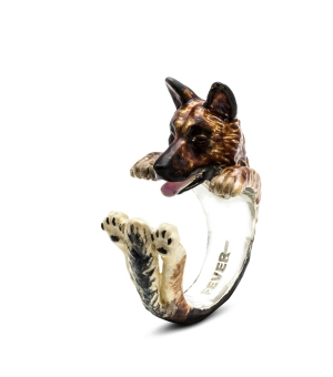 German Shepherd Enameled Hug Ring